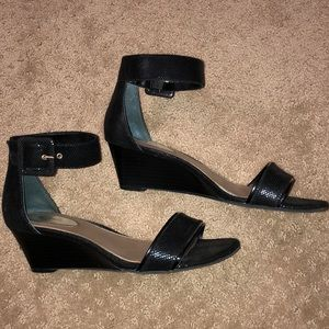 Alfani - Black ankle strap wedges
